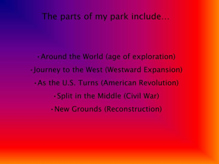 The parts of my park include…