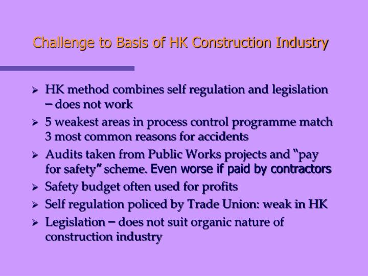 Challenge to Basis of HK Construction Industry