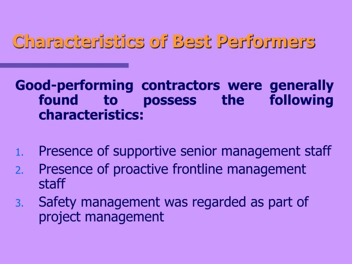 Characteristics of Best Performers