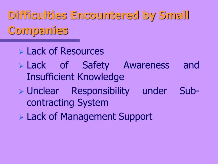 Difficulties Encountered by Small Companies