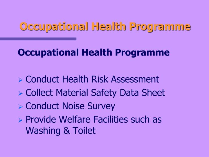 Occupational Health Programme