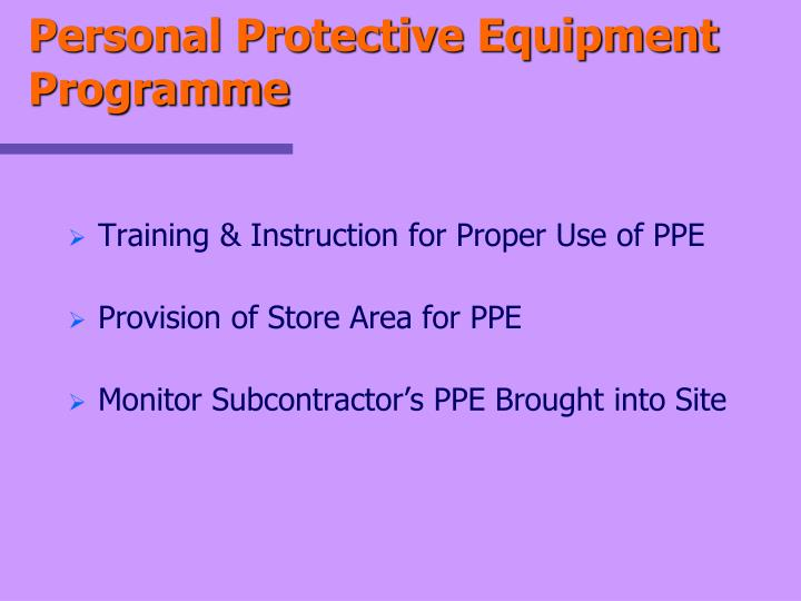 Personal Protective Equipment Programme