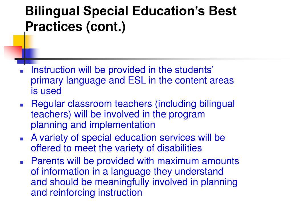 Bilingual Special Education's Best Practices (cont.)
