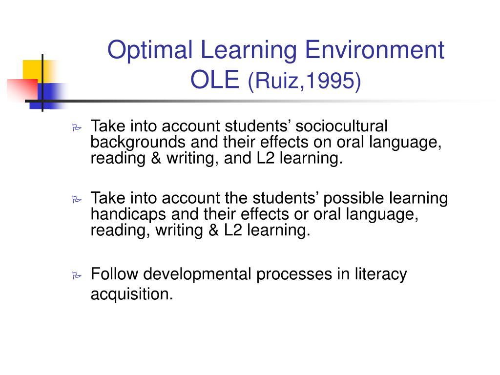 Optimal Learning Environment