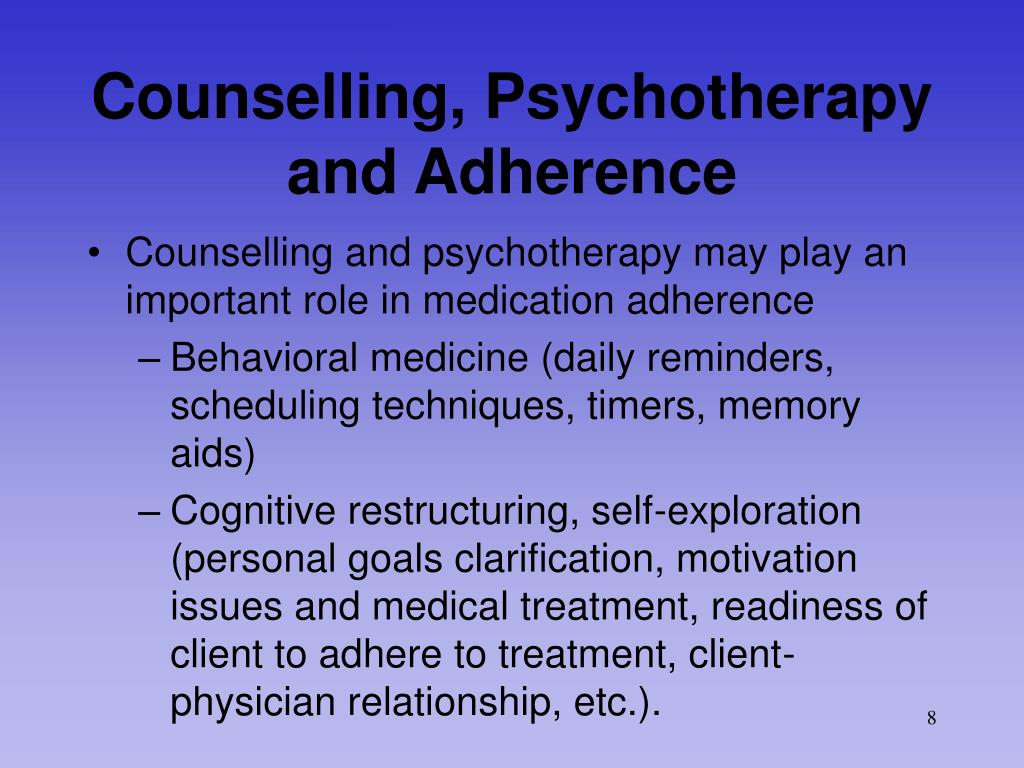 Counselling, Psychotherapy and Adherence