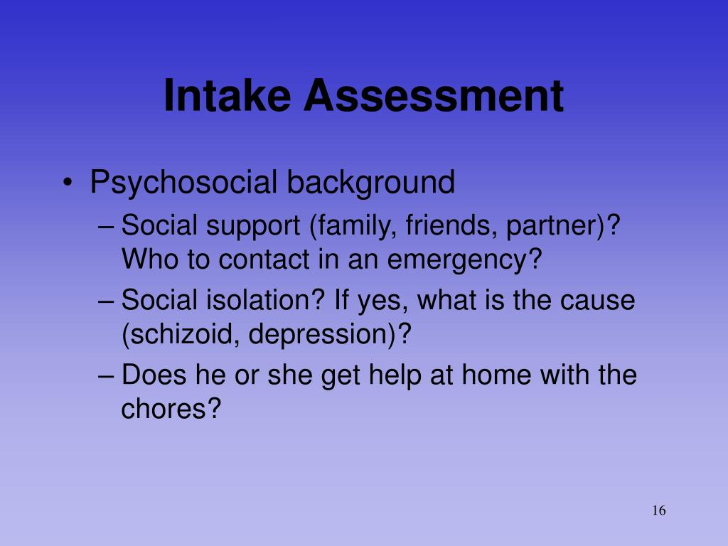 Intake Assessment