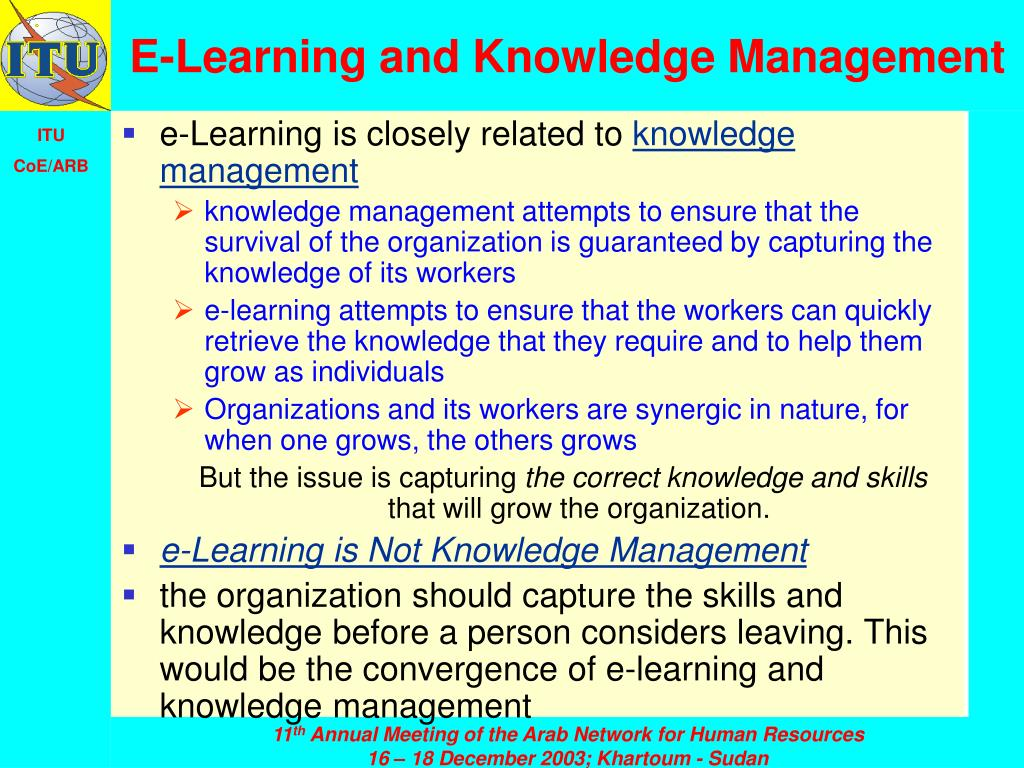E-Learning and Knowledge Management
