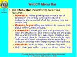 webct menu bar