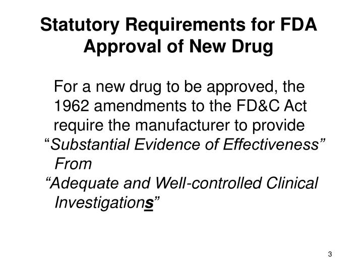 Statutory requirements for fda approval of new drug