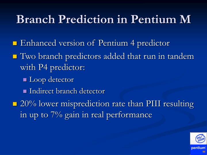 Branch Prediction in Pentium M