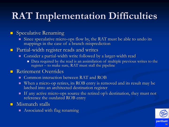RAT Implementation Difficulties