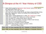 a glimpse at the 41 year history of csd