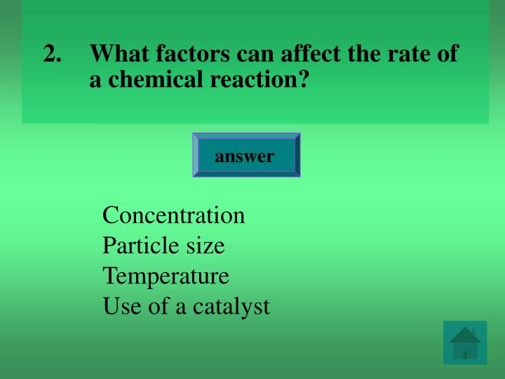 What factors can affect the rate of a chemical reaction
