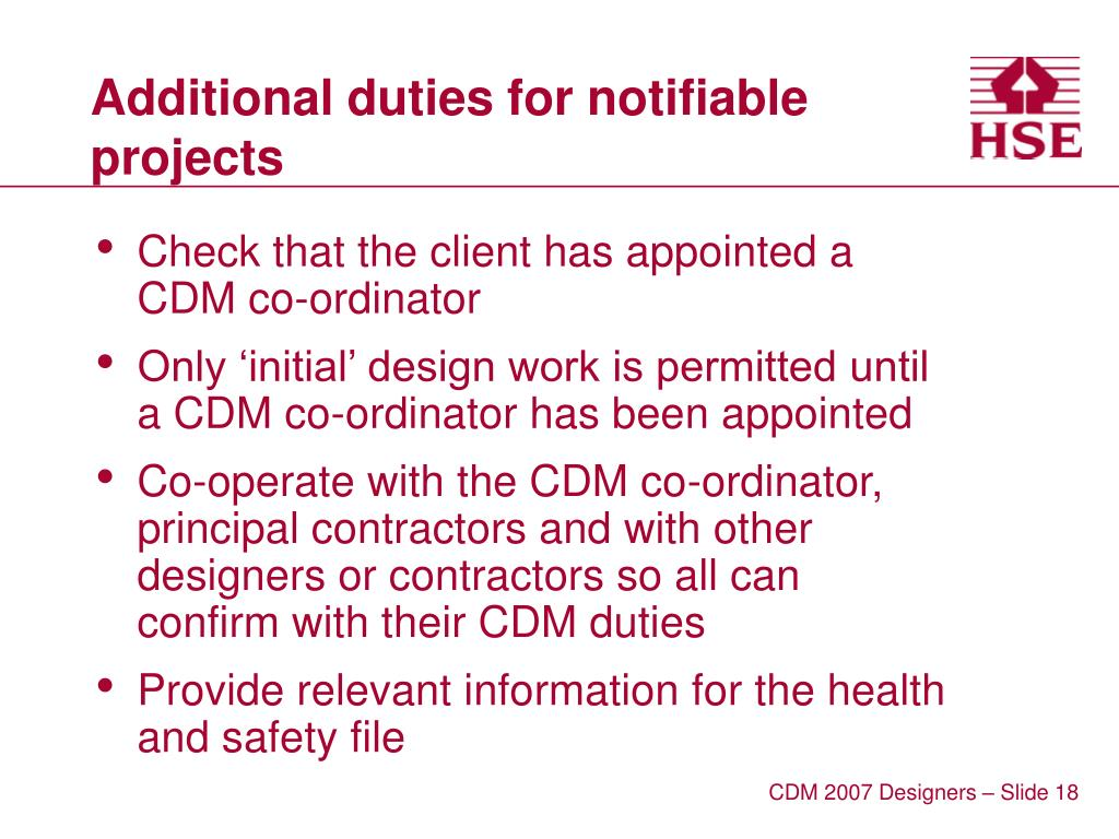 Additional duties for notifiable projects
