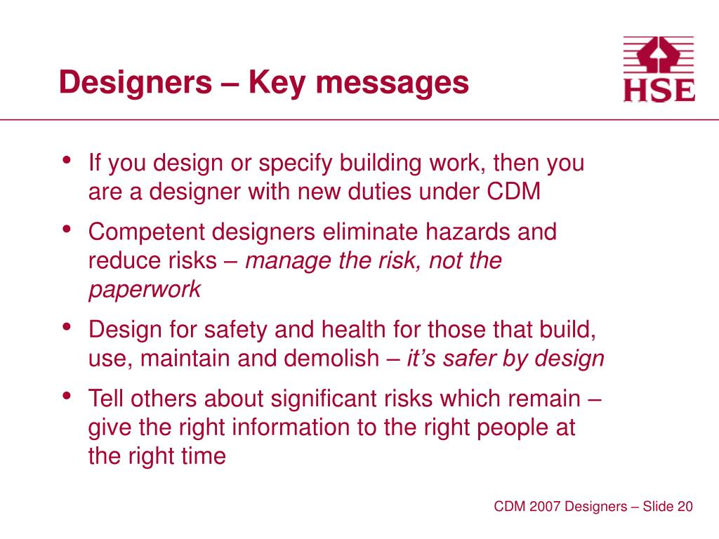 Designers – Key messages