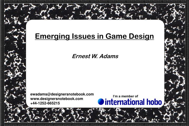 emerging issues in game design n.