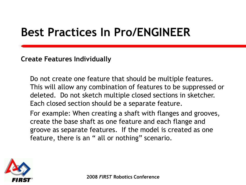 Best Practices In Pro/ENGINEER