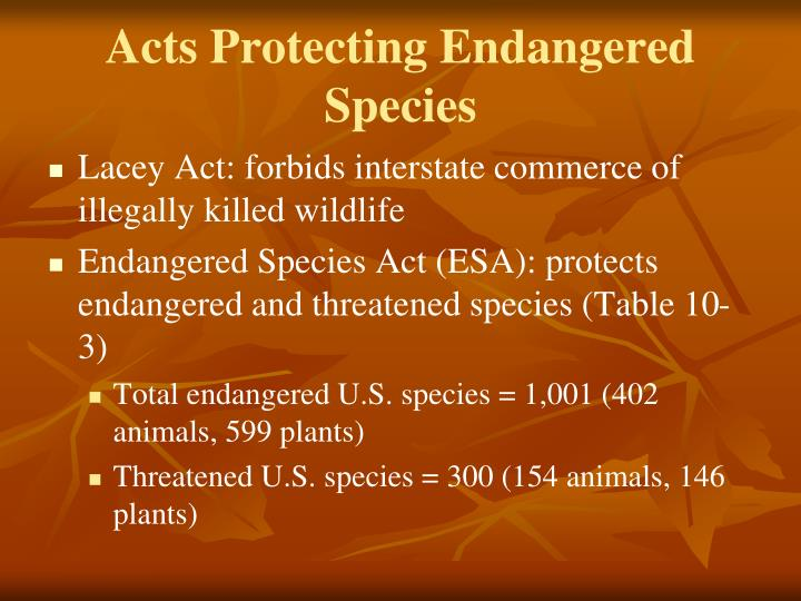Acts Protecting Endangered Species
