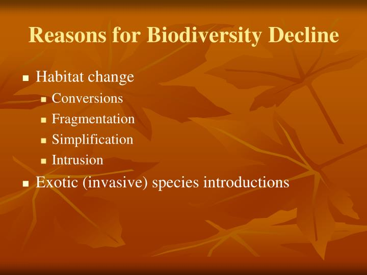 Reasons for biodiversity decline