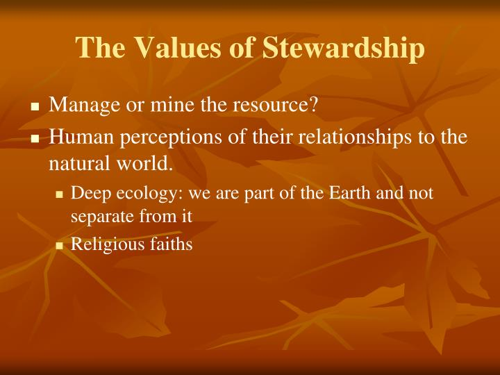 The Values of Stewardship
