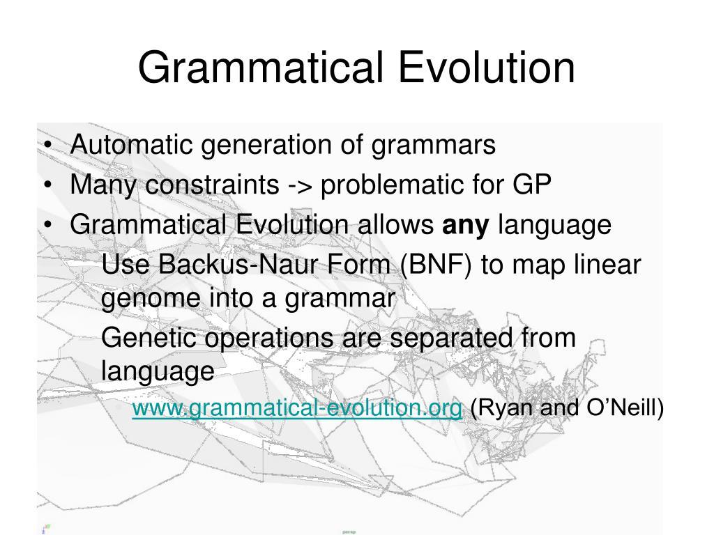 Grammatical Evolution