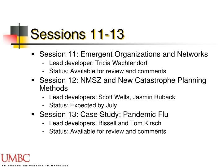 Sessions 11-13