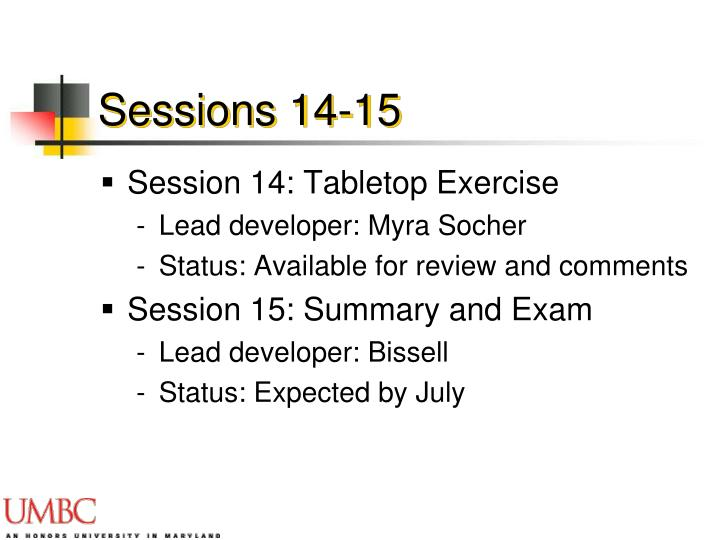 Sessions 14-15