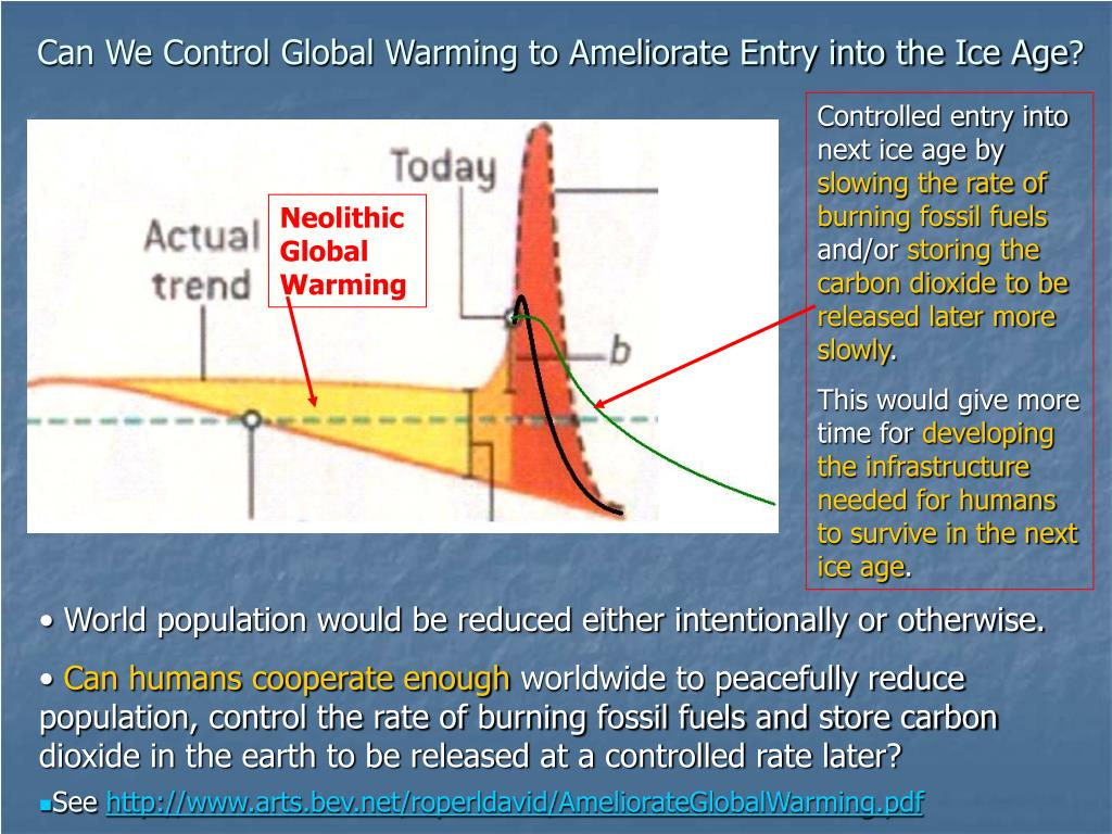 Can We Control Global Warming to Ameliorate Entry into the Ice Age