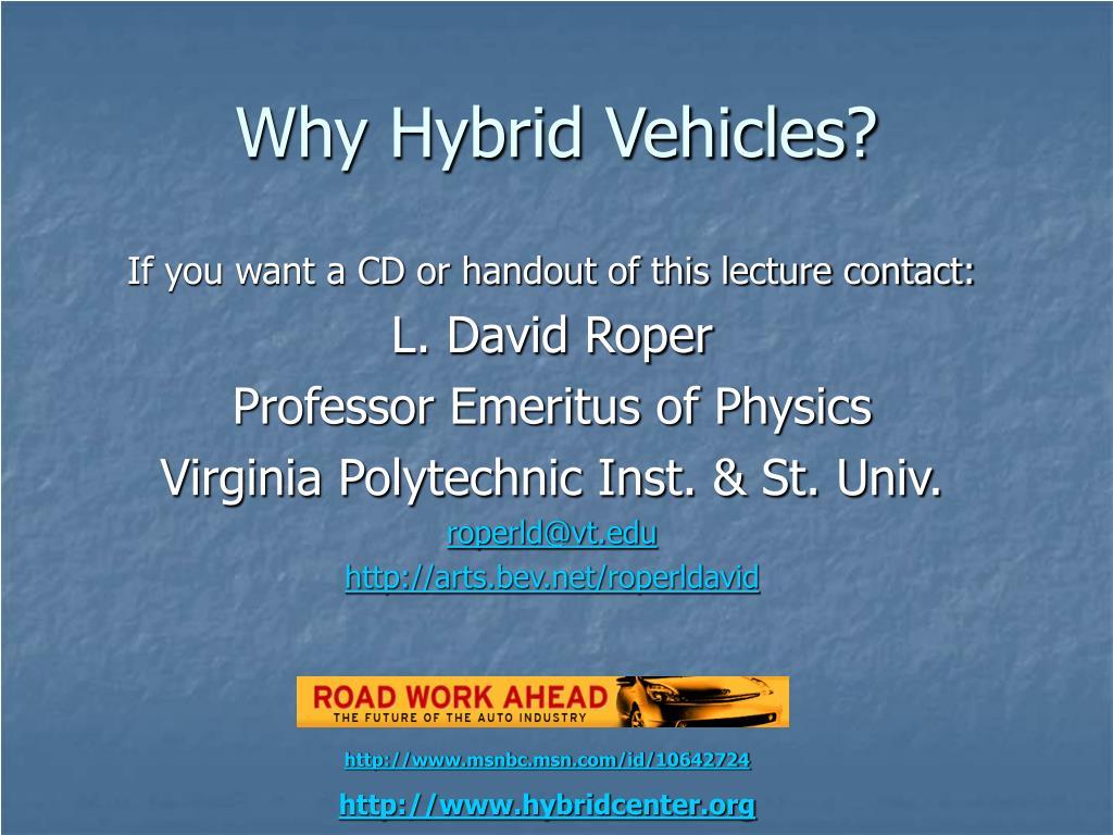 Why Hybrid Vehicles?