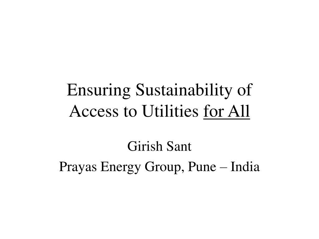 Ensuring Sustainability of