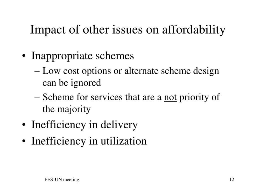 Impact of other issues on affordability