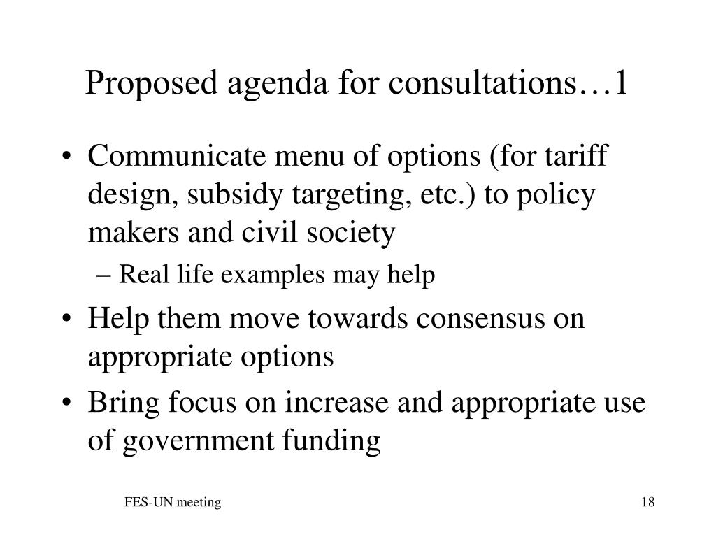 Proposed agenda for consultations…1