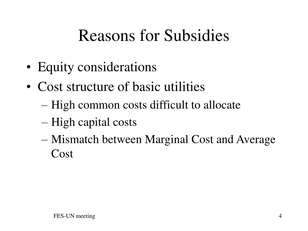 Reasons for Subsidies