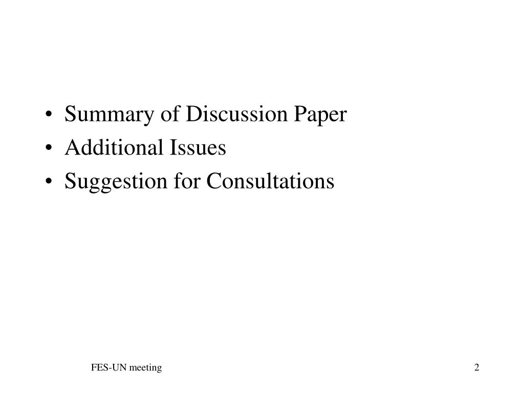 Summary of Discussion Paper