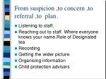 from suspicion to concern to referral to plan