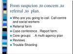 from suspicion to concern to referral to plan1