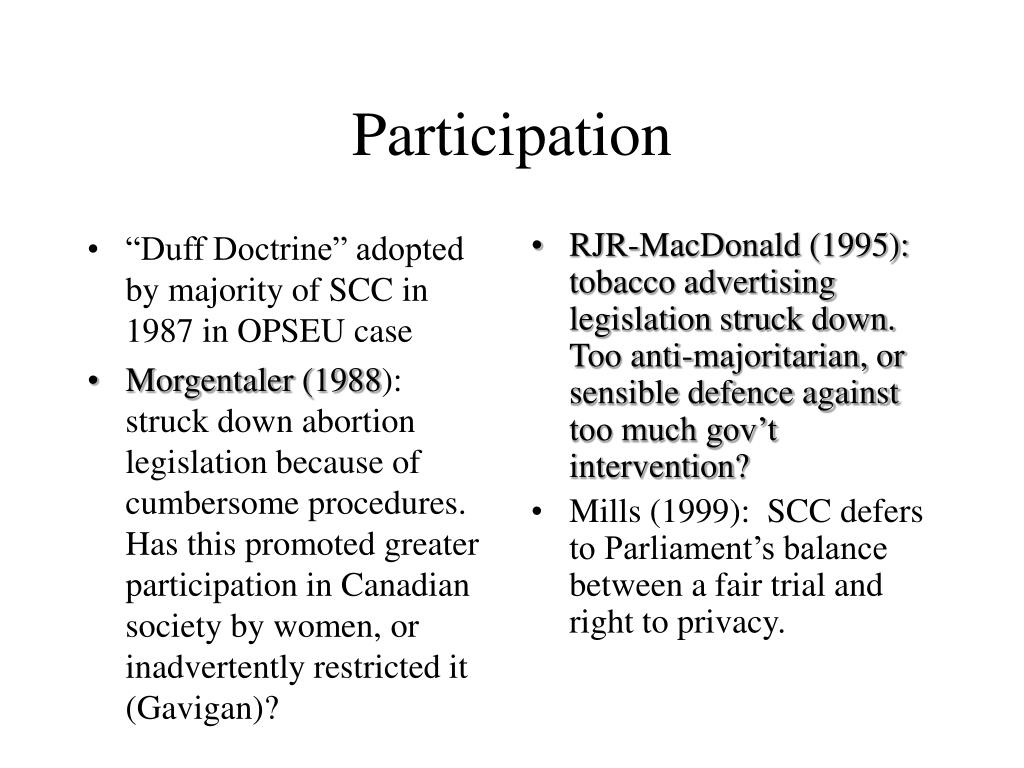 """Duff Doctrine"" adopted by majority of SCC in 1987 in OPSEU case"