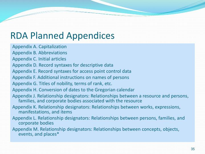 RDA Planned Appendices