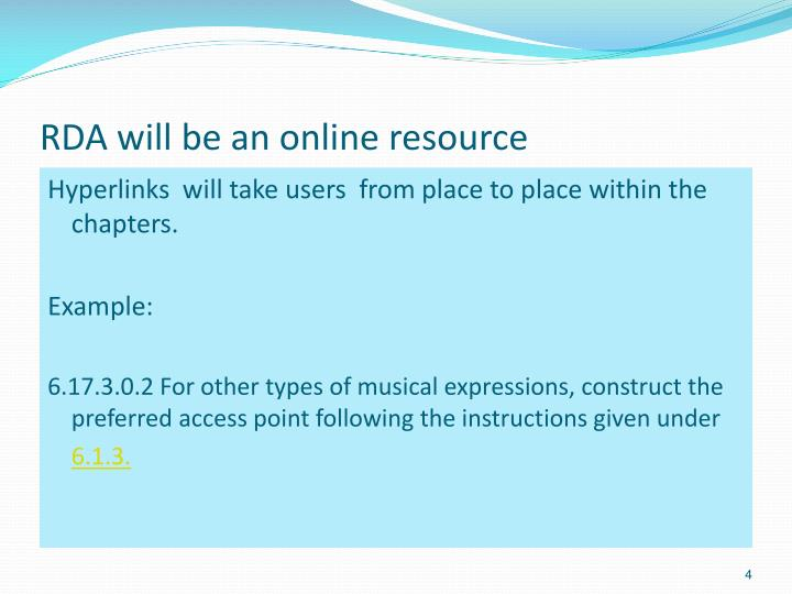 RDA will be an online resource