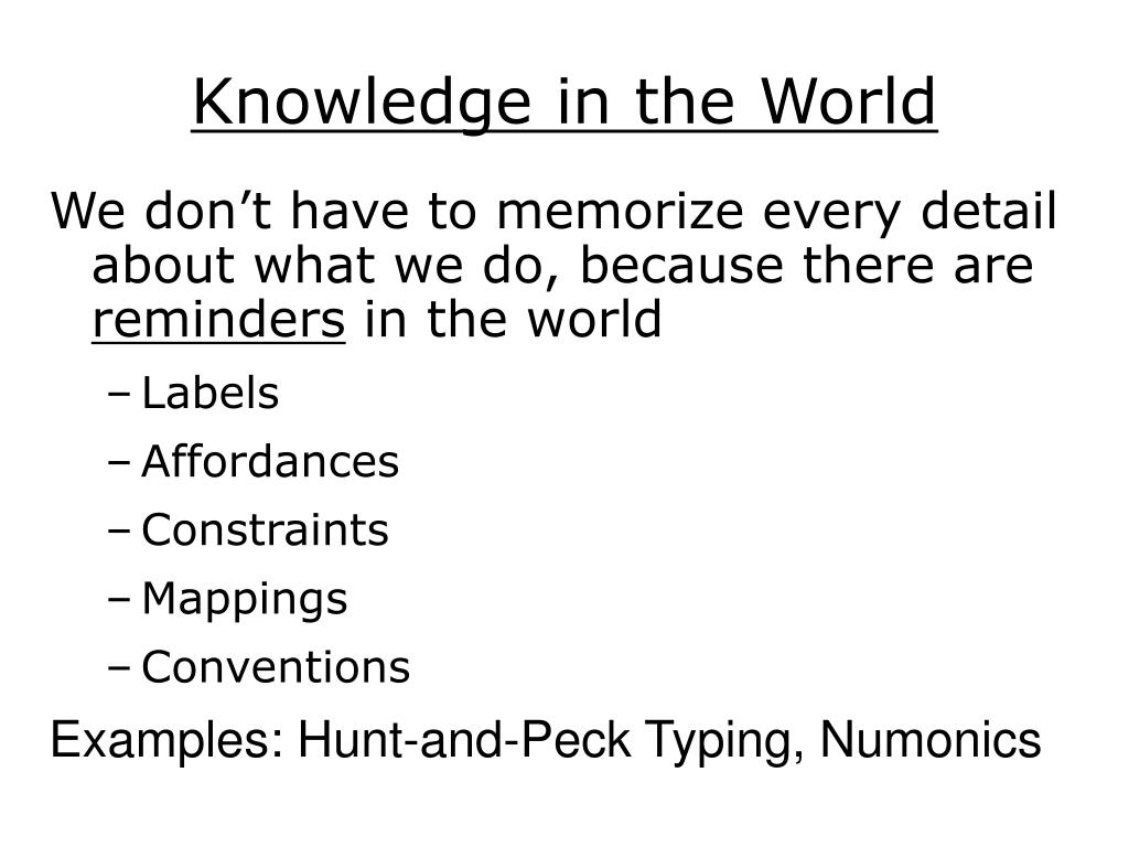 Knowledge in the World