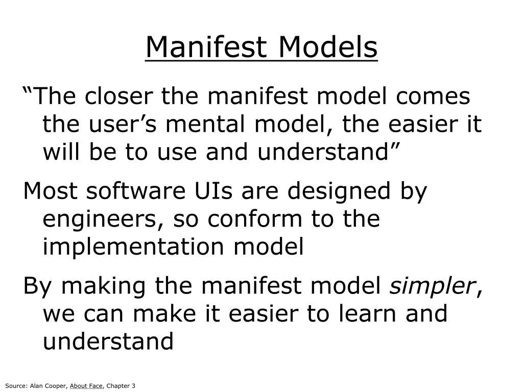Manifest Models