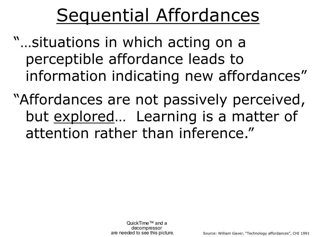 Sequential Affordances