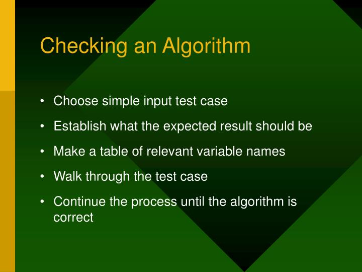 Checking an Algorithm