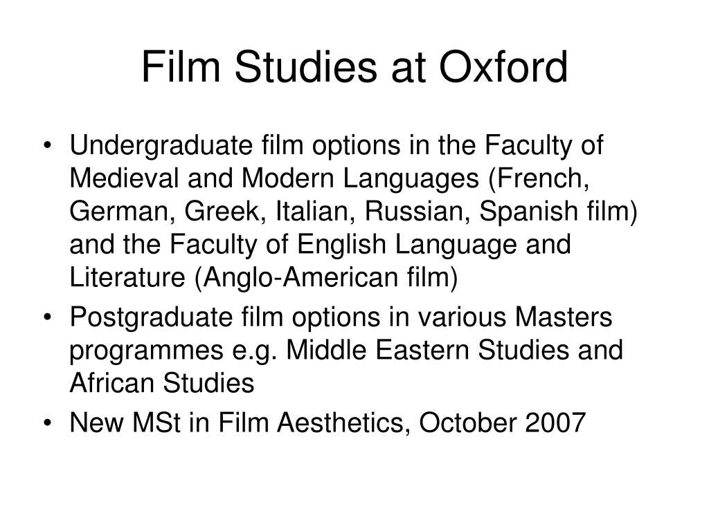 Film Studies at Oxford