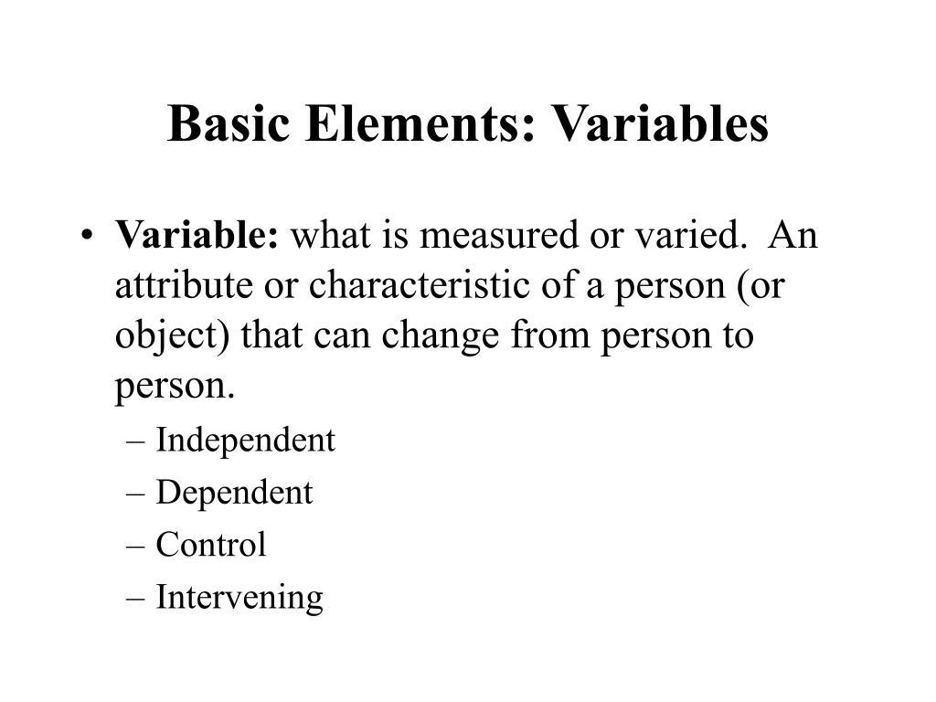 Basic Elements: Variables