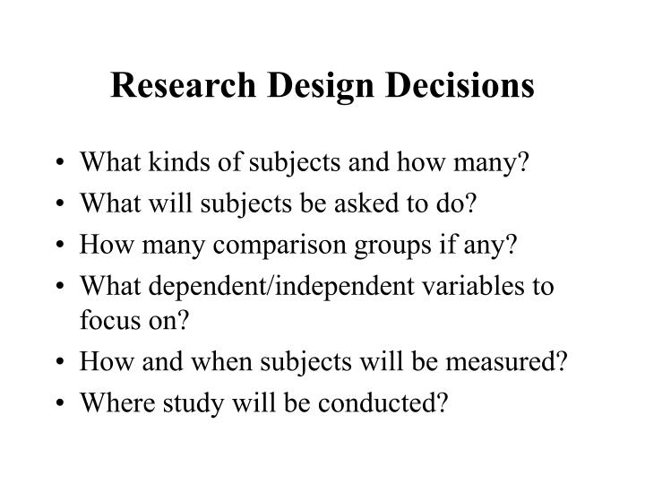 Research design decisions