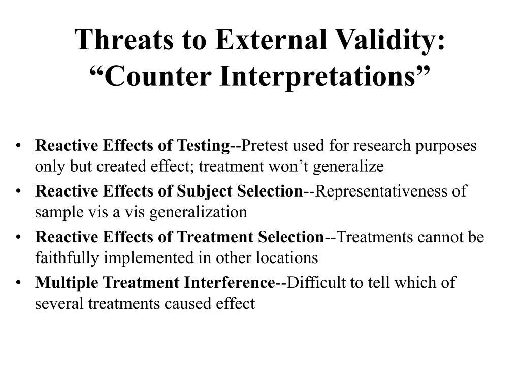 Threats to External Validity: