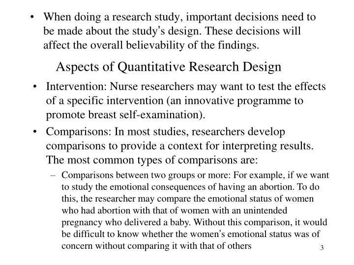 Aspects of quantitative research design