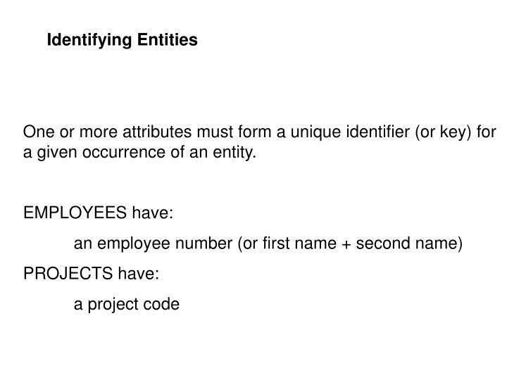 Identifying Entities