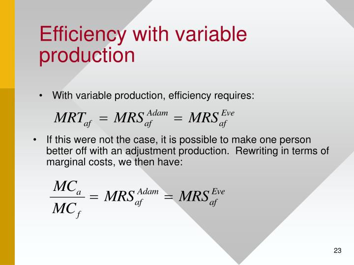 Efficiency with variable production